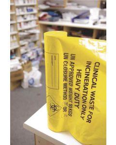 Clinical Yellow Sacks Medium Duty 11 Inch x 17 Inch x 26 Inch 20L